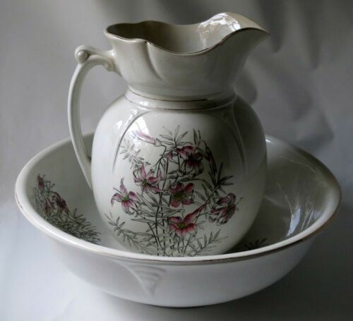 Antique Ironstone Pitcher Wash Bowl Set C.P. Co. Pink Lilies Flowers