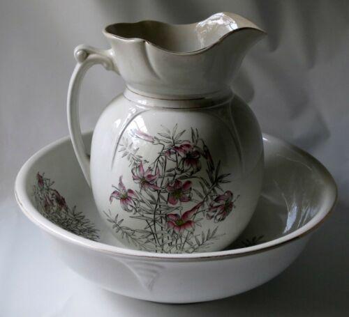 Antique Ironstone Pitcher Wash Bowl Set C.P. Co. Pink Lilies Flowers