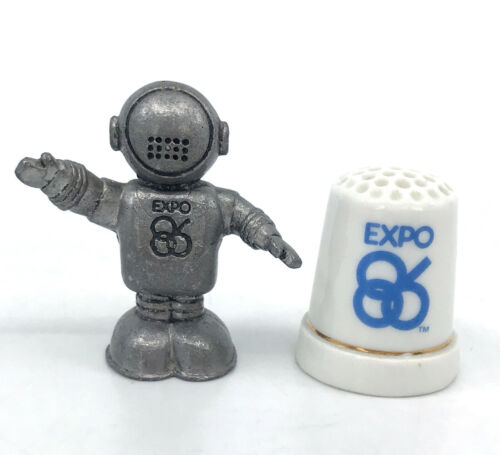 Expo 86 Pewter Ernie Mascot Astronaut and Ceramic Thimble Vancouver BC Canada