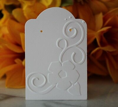 25 White Floral Earring Cards Jewelry Cards Craft Show Or Retail Display Cards