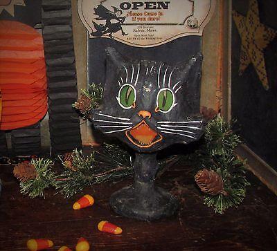 Primitive Antique Vtg Style Halloween Paper Mache Black Sassy Fraidy Cat Goblet