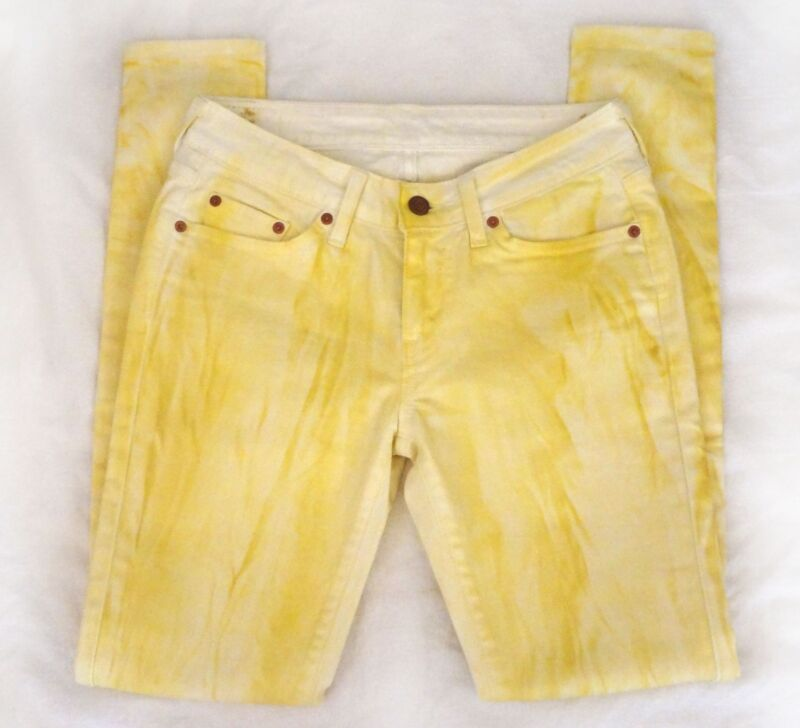 Yellow Paint Wash Skinny Colored Denim Slim Fit Jeans Size 27
