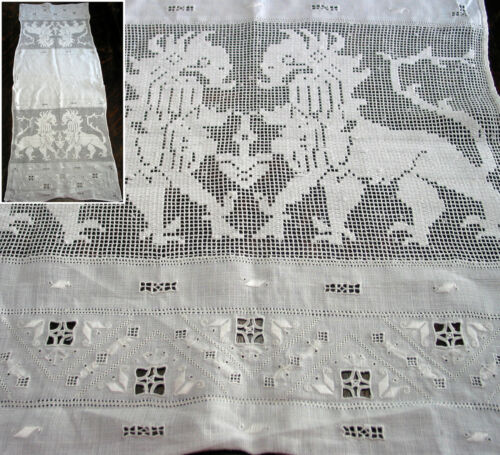"""Antique Table Runner Punto Reale embroidery & Filet Lace 41.5""""x16"""" Griffons"""