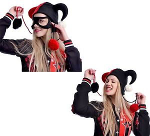 CUPCAKE CULT JESTER HAT STRINGS WITH POM POM BLACK RED HARLEY QUINN COSPLAY
