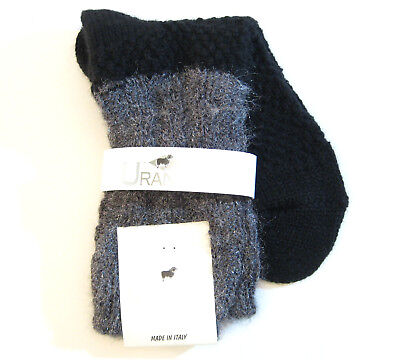Urania Italy Ladies Boot Crew Socks Wool Blend Waffle Black with Sparkle Grey for sale  Shipping to India