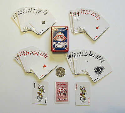 1 NEW DECK OF MINI PLAYING CARDS MINITURE PLASTIC COATED TINY POKER CARD -