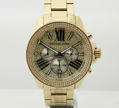 Michael Kors MK6095 Wren gold tone crystal pave chronograph dial watch