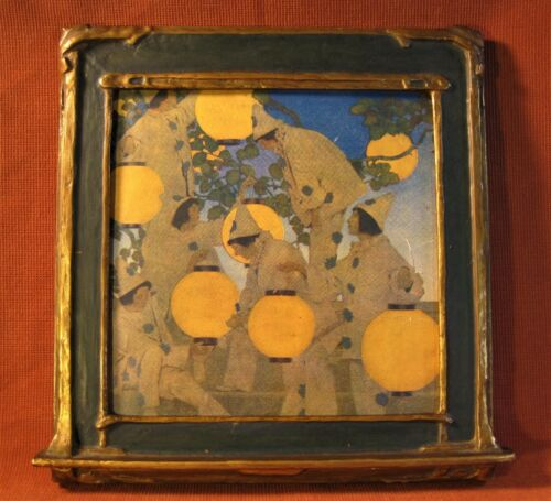 Picture Frame 1920`a Maxfield Parrish Era & Style Blue & Gold Original Finish