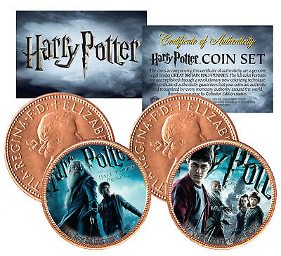 Harry Potter HALF-BLOOD PRINCE Colorized British Halfpenny 2-Coin Set *Licensed*