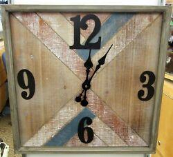 RUSTIC LOOKING SQUARE WOODEN WALL CLOCK   -19 SQUARE -UMA-94628