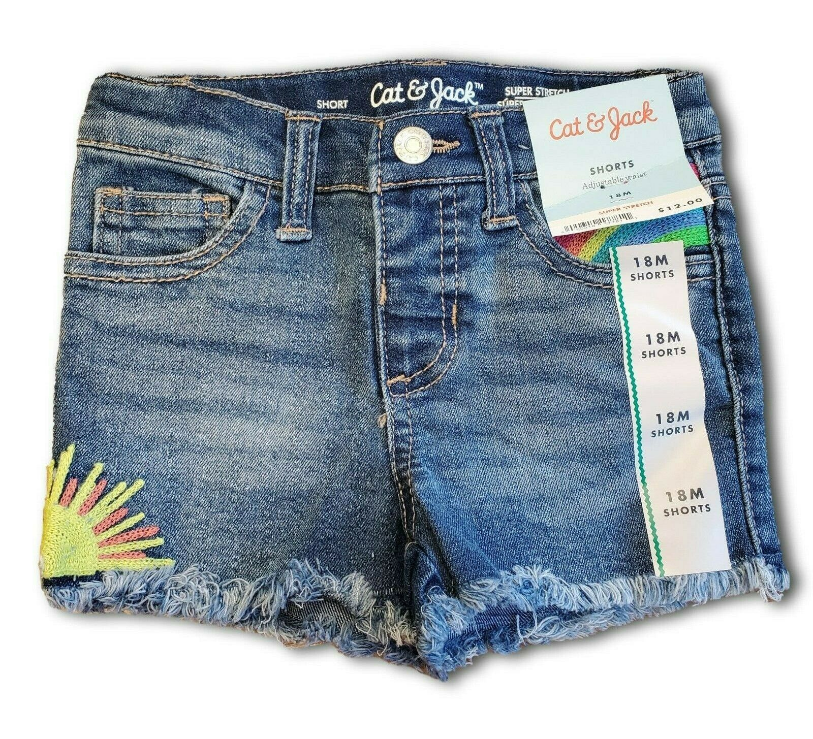 Toddler Girls' Cat & Jack Jean Shorts Embroidered Raw Edge – 18 months – NWT Baby