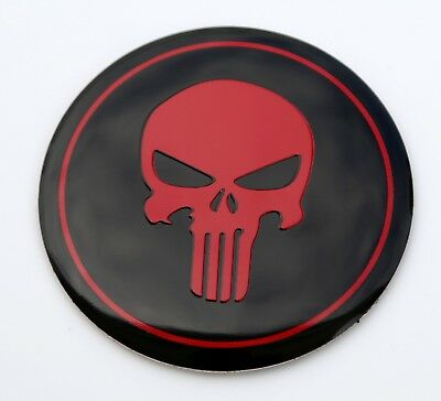METAL DOME Red Punisher Skull Sticker Decal Emblem 2.2