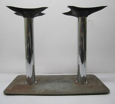 Vtg Retro Table Base Mount Stand Diner Restaurant Bar Two 2 Chrome Legs Steel, used for sale  Akron