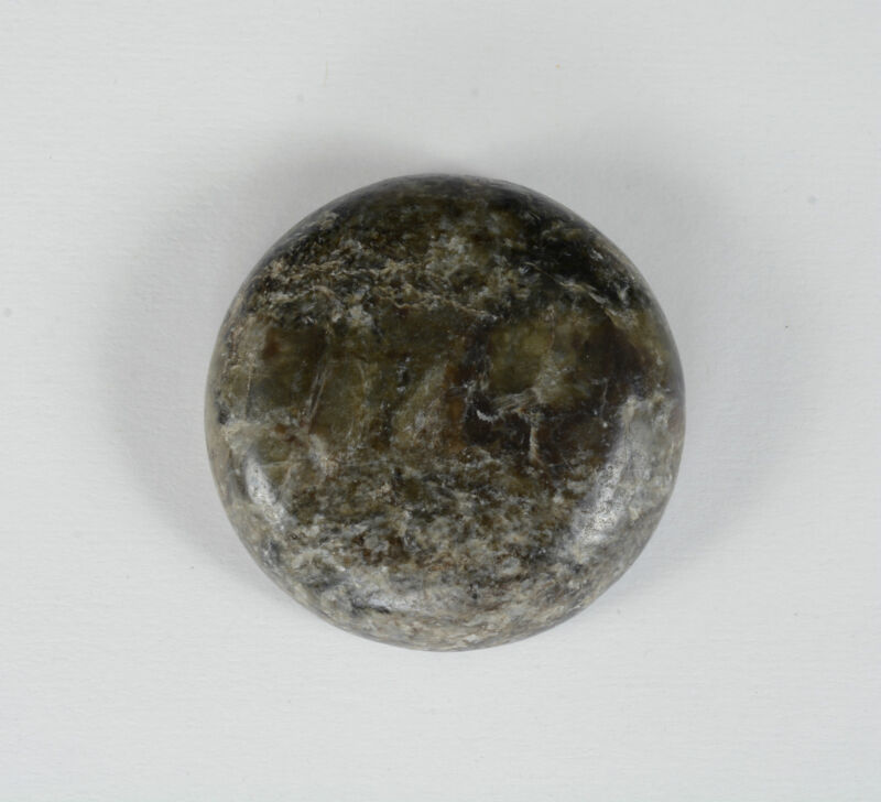 Very Rare Antique Chinese Imperial Guard Grey Green Jade Heart Stone