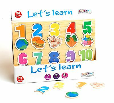 Wooden Let's Learn Picture Shape Number Puzzle Educational Counting Kids Toy