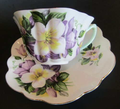 Rare Vintage Shelley Clematis Tea Cup & Saucer