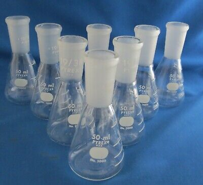 Set Of 8 Pyrex 50ml Erlenmeyer Flasks 5000-50 With 1938 Joints