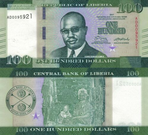Liberia 100 Dollars (2017) - Tolbert/Woman with Child/p35b UNC