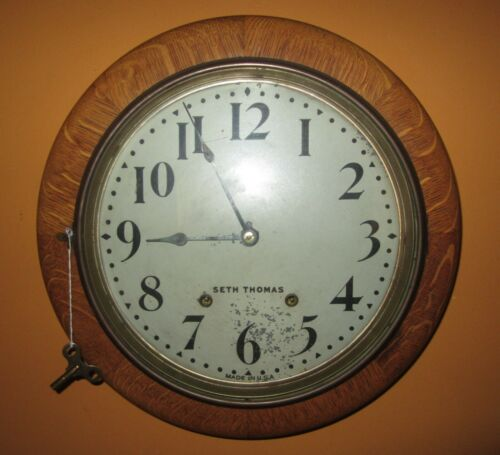 "ANTIQUE SETH THOMAS GALLERY 16"" ROUND WALL CLOCK 8-DAY, TIME/STRIKE"