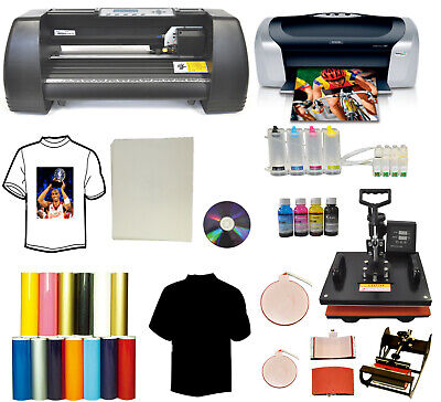 14 Laser Vinyl Cutter Plotter 5in1 Pro Heat Pressprinter Ciss Ink Tshirt Pack
