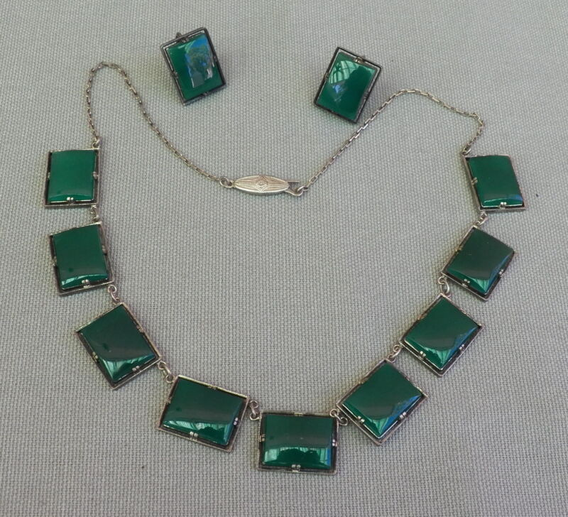 Fine Vintage Art Deco Squared Green Stone Silver Necklace & Earring Set