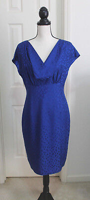 BANANA REPUBLIC 100% Silk Blue Dots Sleeveless Draped Neck Dress Sz 8 ~ New