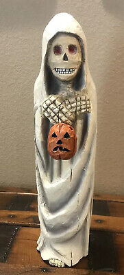 Bethany Lowe Anthony Costanza Captured Carvings Skeleton Ghost W/Pumpkin-retired