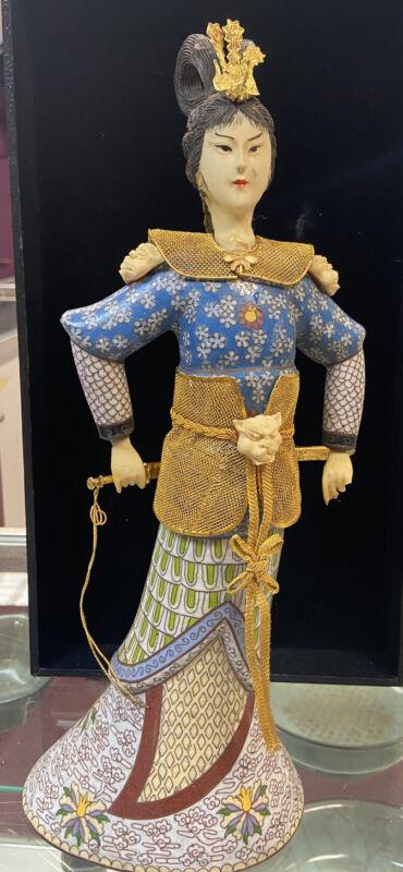 Chinese Cloisonne Enamel female figure     花木兰