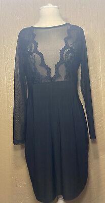 Boohoo Plus Black Laced Long Sleeve Long Dress US 14