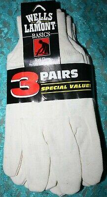 Wells Lamont Basics Work Gloves 8 0z Cotton Canvas 3 Pairs New