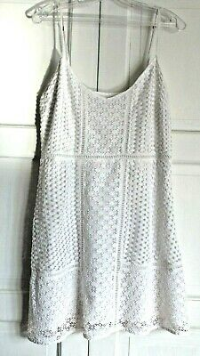 Abercrombie & Fitch Eyelet Sleeveless White Short Dress - Size L
