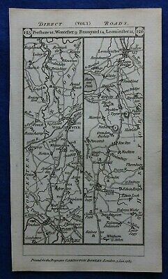 Original antique road map WORCESTER, HEREFORDSHIRE, PERSHORE, Paterson 1785