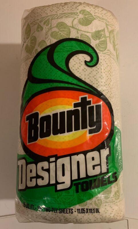 Vintage 1976 Bounty Designer Paper Towels Roll Green Leaves Unopened NOS Sealed