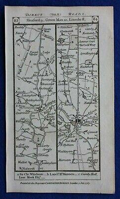 Original antique road map LINCOLNSHIRE, SLEAFORD, LINCOLN, HULL, Paterson, 1785