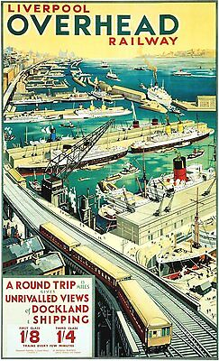 Vintage Rail travel railway poster  A4 RE PRINT Liverpool Overhead Railway