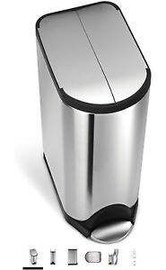 simplehuman Butterfly Step Trash Can, Stainless Steel, 30 L
