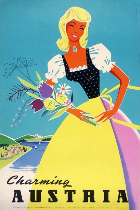 Charming Austria Austrian Europe European Vintage Travel Advertisement Poster