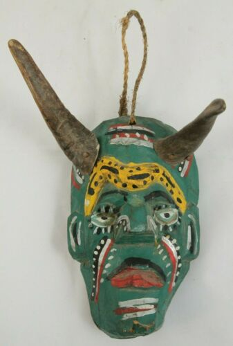Small Vintage Green Devil Mask Horns Wood Mexican Folk Art Hand Carved/Painted