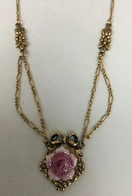 "Stunning AVON Porcelain ""ROSE GARDEN"" 1992 Goldtone 18"" Necklace VTG"