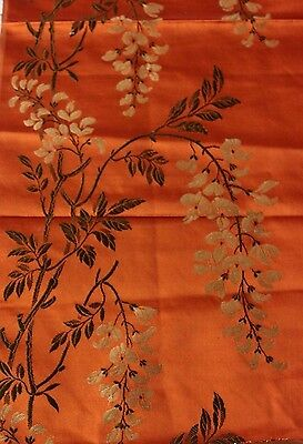 French Antique (c1870) Silk Woven Brocade Textile Fabric~Wisteria~Chinoiserie
