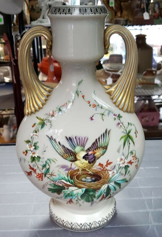 Circa 1880 Victorian Bristol Glass Double Sided Hand Painted Birds Motif Vase