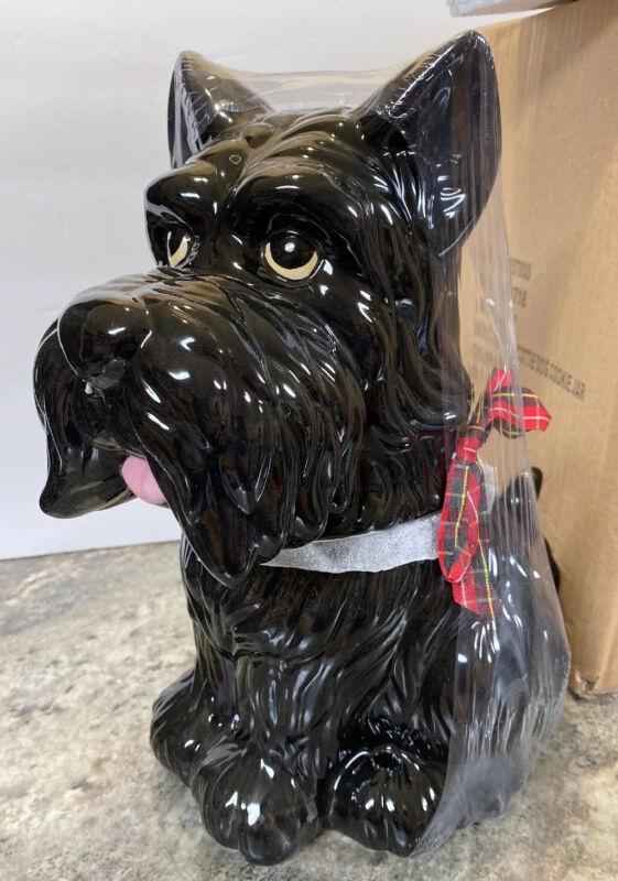 """Black Westie Scotty Dog Cookie Jar Sleigh Bell Bistro Ceramic Terrier 12"""" New"""