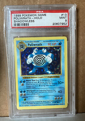 Pokemon 1999 Shadowless Base Set Poliwrath Holo 13/102 PSA 9 MINT