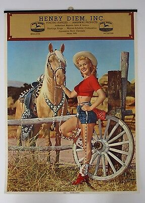 Original 1950s Pinup Advertising Calendar - Marlette, Michigan John Deere Dealer