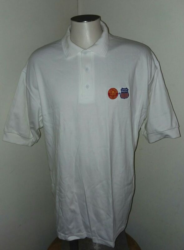 Vtg Southern Pacific Lines+Union Pacific Railroad Men Polo XL K-Products Md USA