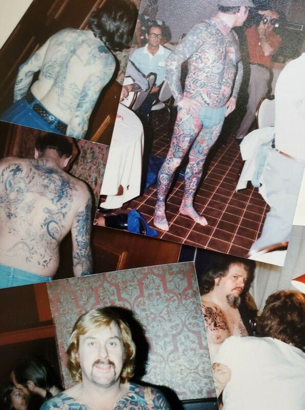 5 vintage tattoo original photos ned resinol 1979 tattooed man denver convention
