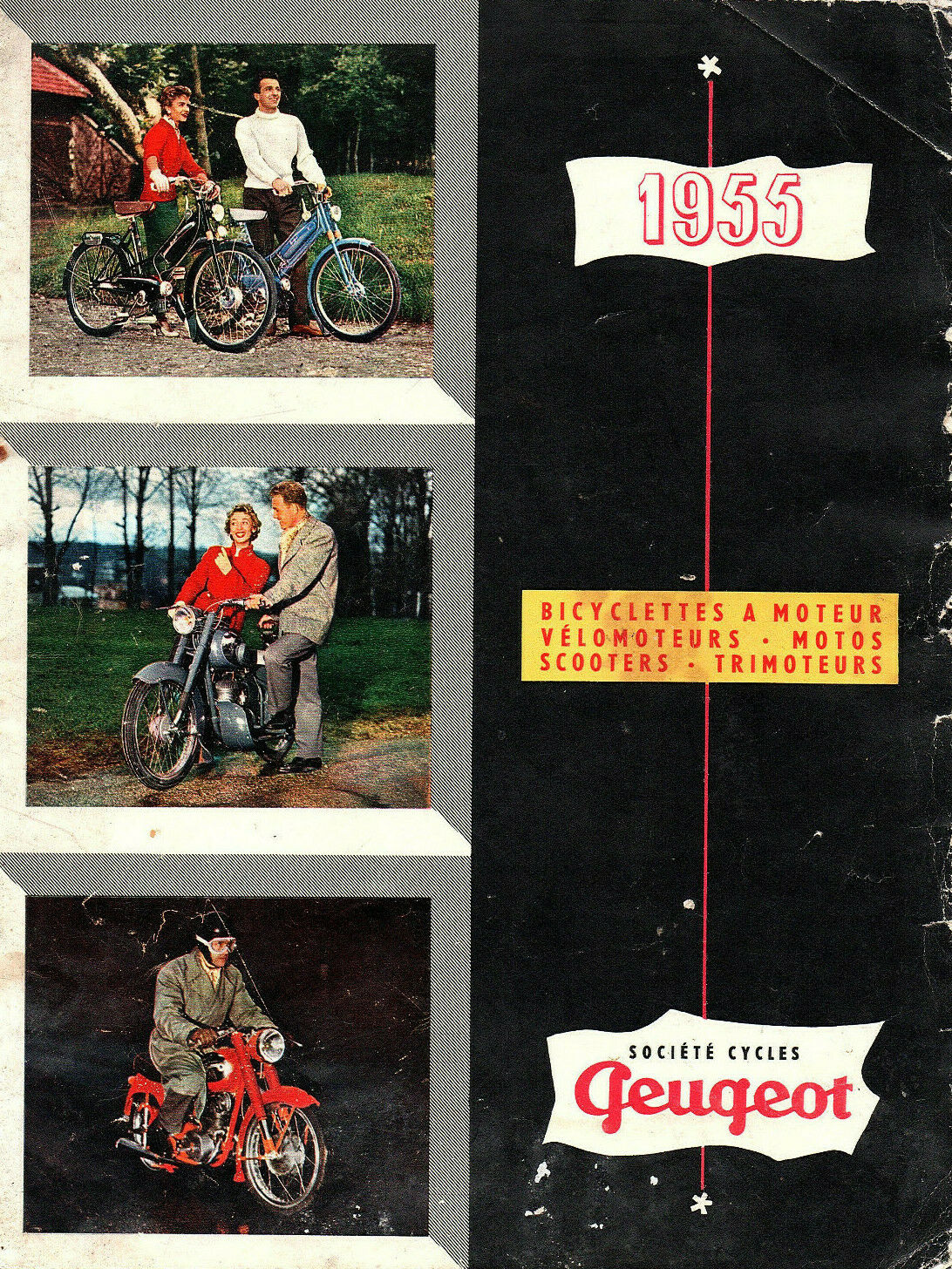 Rare catalogue gamme 1955 peugeot mobylette moto triporteur scooter