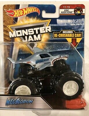 "Hot Wheels Monster Jam ""Epic Additions"" MEGALODON with Re-Crushsble Car"