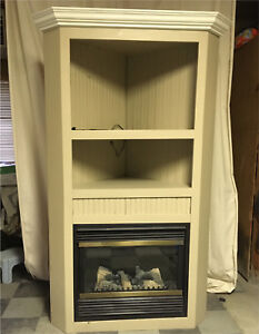Corner unit with electric fireplace
