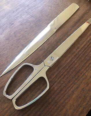 Vintage Mid-century Modern Solingen Scissor Set Home Office Leather Case